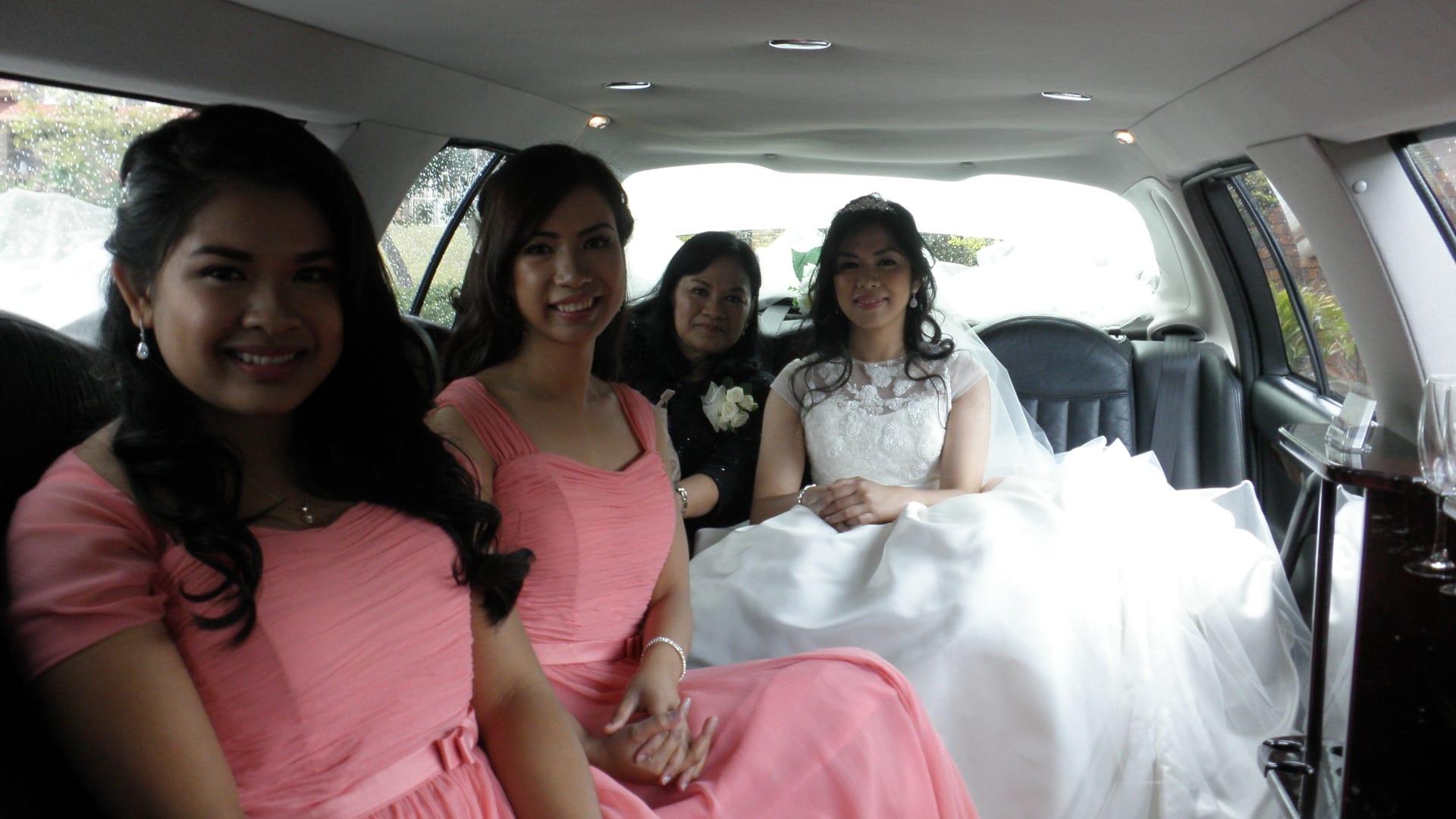 Deb & her Pretty In Peach Bridesmaids