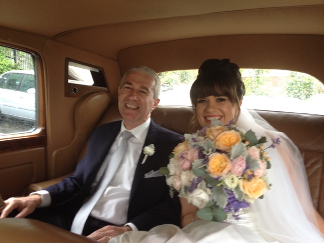 1950's Classic Bentley inside with Bride