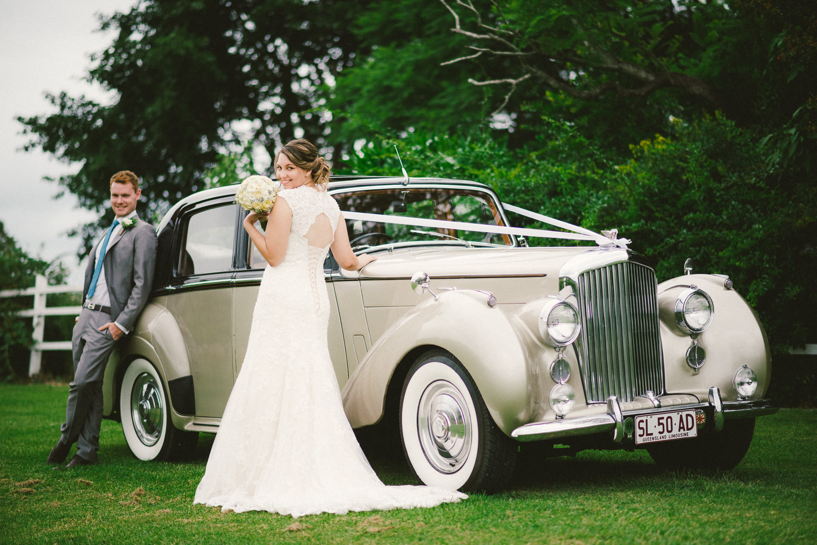 Bride next to 1950's Classic Bentley